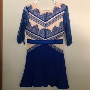 Lace mesh blue dress
